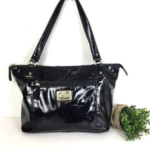 Marc Fisher Black PVC Patent Leather Tote Bag